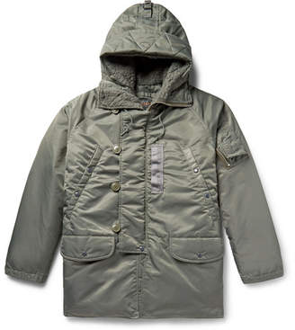 Beams N-3b Shell Hooded Down Coat