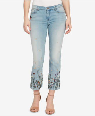 William Rast Embroidered Cropped Flared Jeans