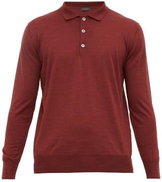 Thom Sweeney - Long Sleeve Merino Wool Polo Shirt - Mens - Burgundy