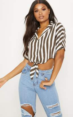 PrettyLittleThing Khaki Stripe Short Sleeve Crop Tie Shirt