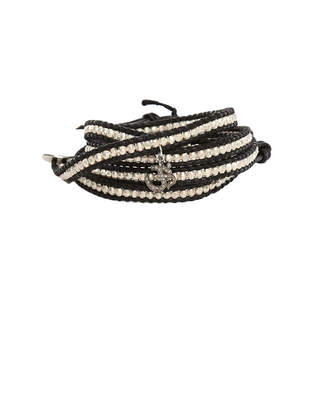 Chan Luu Silver Bead on Black Leather Wrap Bracelet with Diamond Charm
