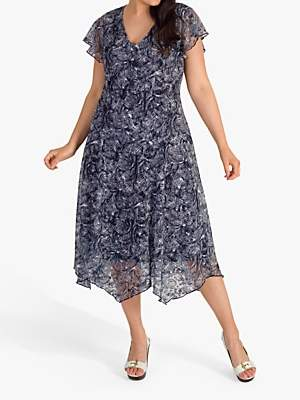 a662fb76f3a8 chesca Printed Stretch Lace Jersey Dress, Navy/Ivory