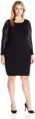 Calvin Klein Women's Plus Size Lace Sleeve Sweater Dress