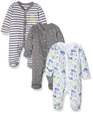 Mothercare Baby Boys' Happy Animals Sleepsuits - 3 Pack Bodysuit, (Grey Marl 188), (Size:62CM)