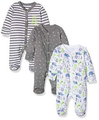 Mothercare Baby Boys' Happy Animals Sleepsuits-3 Pack Bodysuit, (Grey Marl 188), (Size:80CM)