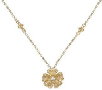 Judith Ripka 14K Gold Diamond Flower Necklace