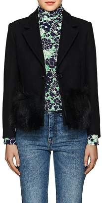 "Lisa Perry Women's ""Foxy"" Fur-Trimmed Wool-Blend One-Button Blazer"
