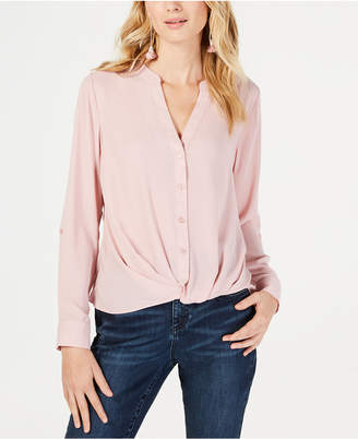 INC International Concepts Inc Twist-Front Button-Up Top