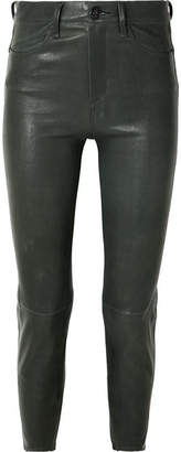 Rag & Bone Leather Slim-leg Pants - Dark green