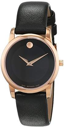 Movado Womens Analogue Classic Quartz Watch with Leather Strap 607079