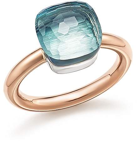 Pomellato Nudo Classic Ring with Blue Topaz in 18K Rose and White Gold
