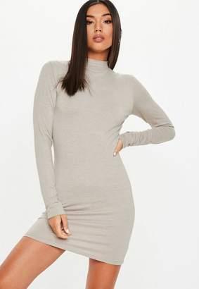 Missguided Stone High Neck Curve Hem Bodycon Mini Dress