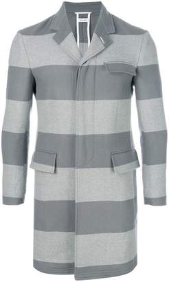 Thom Browne Rugby Stripe Unconstructed High-Armhole Chesterfield Overcoat
