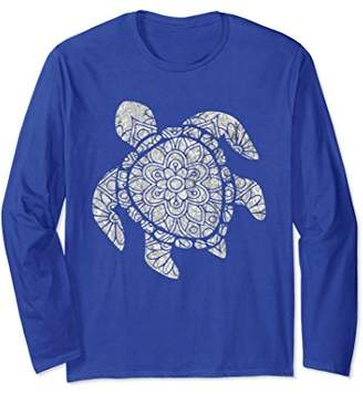 Sea Turtle Mandala Silver Pattern Boho Turtles Long Sleeve
