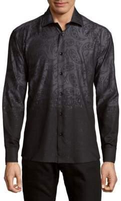 Ombre Paisley Button-Down Shirt