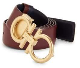Salvatore Ferragamo Logo Reversible Leather Belt