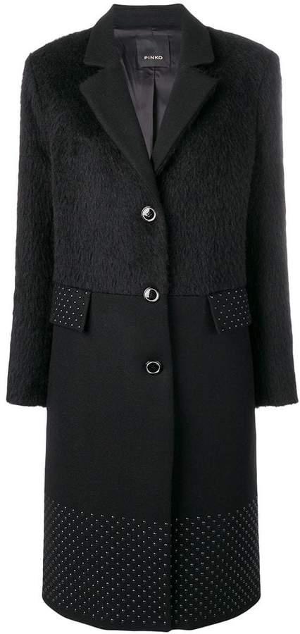 stud embellished panel coat