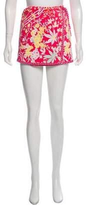 Tibi Floral Mini Wrap Skirt