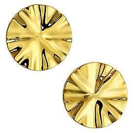 Nest Women's 22K Goldplated Wavy Disc Stud Earrings