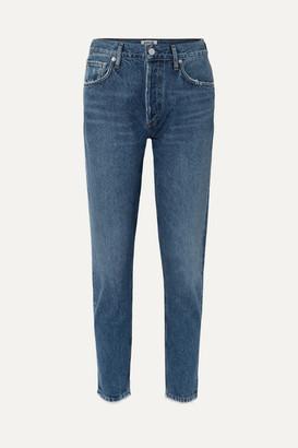 A Gold E AGOLDE - Jamie Cropped Frayed High-rise Straight-leg Jeans - Dark denim