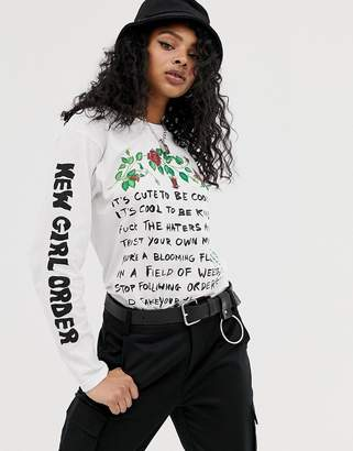 New Girl Order long sleeve t-shirt with manifesto graphic