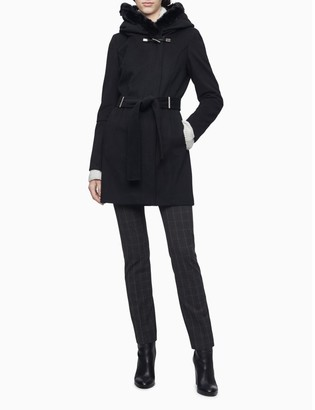 Calvin Klein Faux Fur Hood Belted Toggle Coat