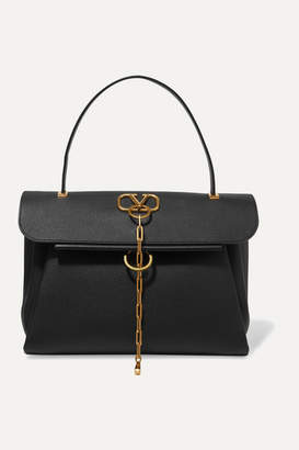 Valentino Garavani Vchain Medium Textured-leather Tote - Black