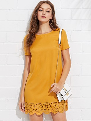 Shein Laser Cut Scallop Hem Tunic Dress