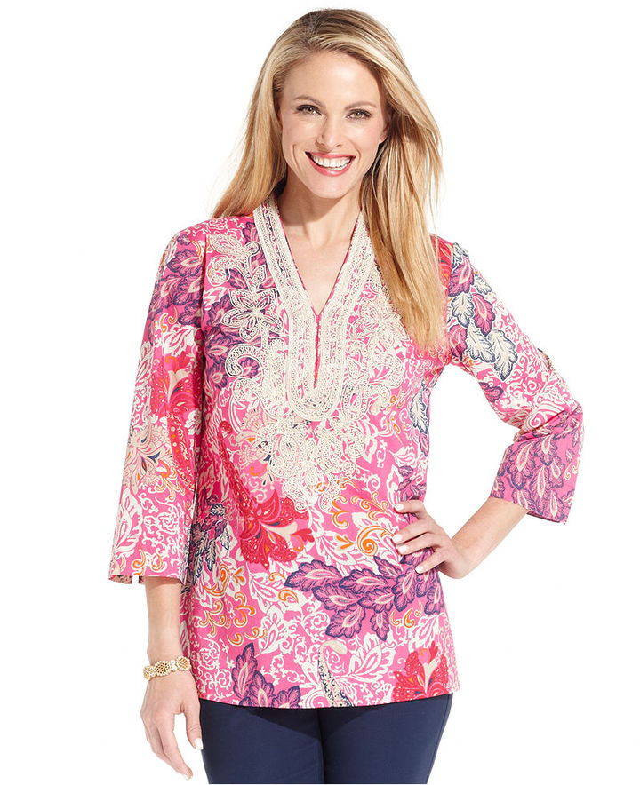 Charter Club Top, Three-Quarter-Sleeve Floral-Print Embroidered Tunic