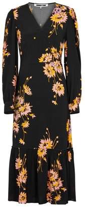 McQ Black Floral-print Midi Dress