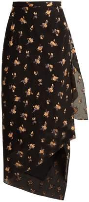 Roland Mouret Petworth chevron-embossed floral skirt