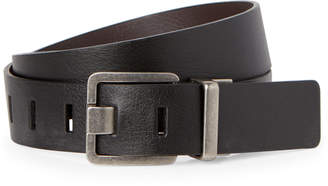 Calvin Klein Jeans Black & Brown Leather Harness Buckle Belt