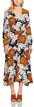 Yumi Women's Large Flower Print Maxi Floral Long Sleeve Dress