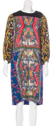 Clements Ribeiro Lace-Trimmed Digital Print Dress
