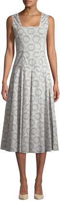 Derek Lam Women's Geo Midi Cotton Dress with Full Skirt