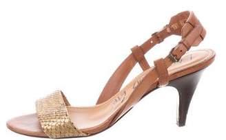 Lanvin Snakeskin-Accented Slingback Sandals