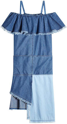 Sjyp Denim Dress with Asymmetric Hemline