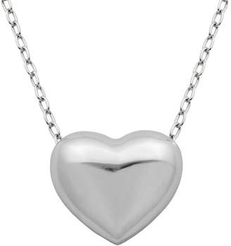 FINE JEWELRY Sterling Silver Puffed Heart Pendant Necklace