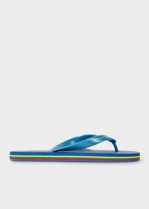 Paul Smith Men's Blue 'Dale' Flip Flops With Striped Edge