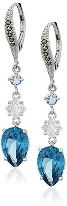 Judith Jack Sterling Silver/Swarovski Marcasite Blue Triple Drop Earrings $125 thestylecure.com