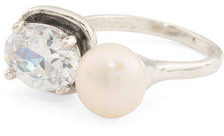 Made In Israel Sterling Silver Pearl And Cz Open Ring