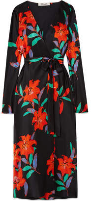 Diane von Furstenberg Tilly Floral-print Silk Crepe De Chine Wrap Dress - Black
