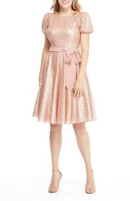 Gal Meets Glam Beatrix Sequin Crush Fit & Flare Dress