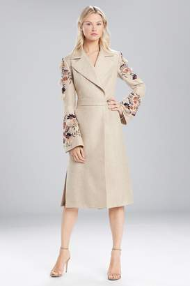Josie Natori Straw Mixed Media Embroidered Trench Coat