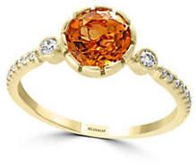 Effy Sunset 14K Yellow Gold Citrine and 0.02K Diamond Ring