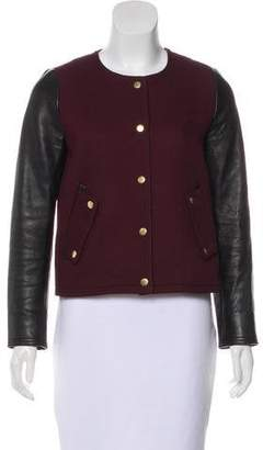 Club Monaco Leather-Trimmed Varsity Jacket