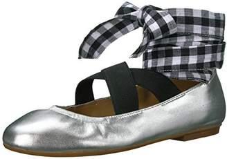 Amazon Brand - The Fix Women's Singh Elastic Strap Lace-up Ankle Ballet Flat