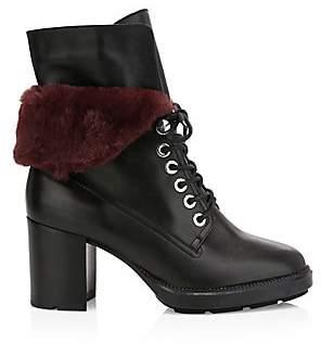 Aquatalia Women's Idris Faux-Fur Trim Leather Combat Boots