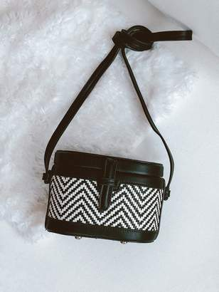 Goodnight Macaroon 'Kiera' Two Tone Chevron Shoulder Bucket Bag