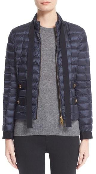 MonclerWomen's Moncler Pavottine Water Resistant Bow Detail Short Down Jacket